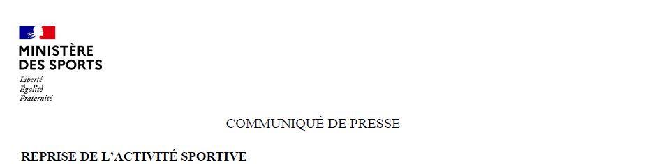 Communiqué du Ministère des Sports et message de la FNS